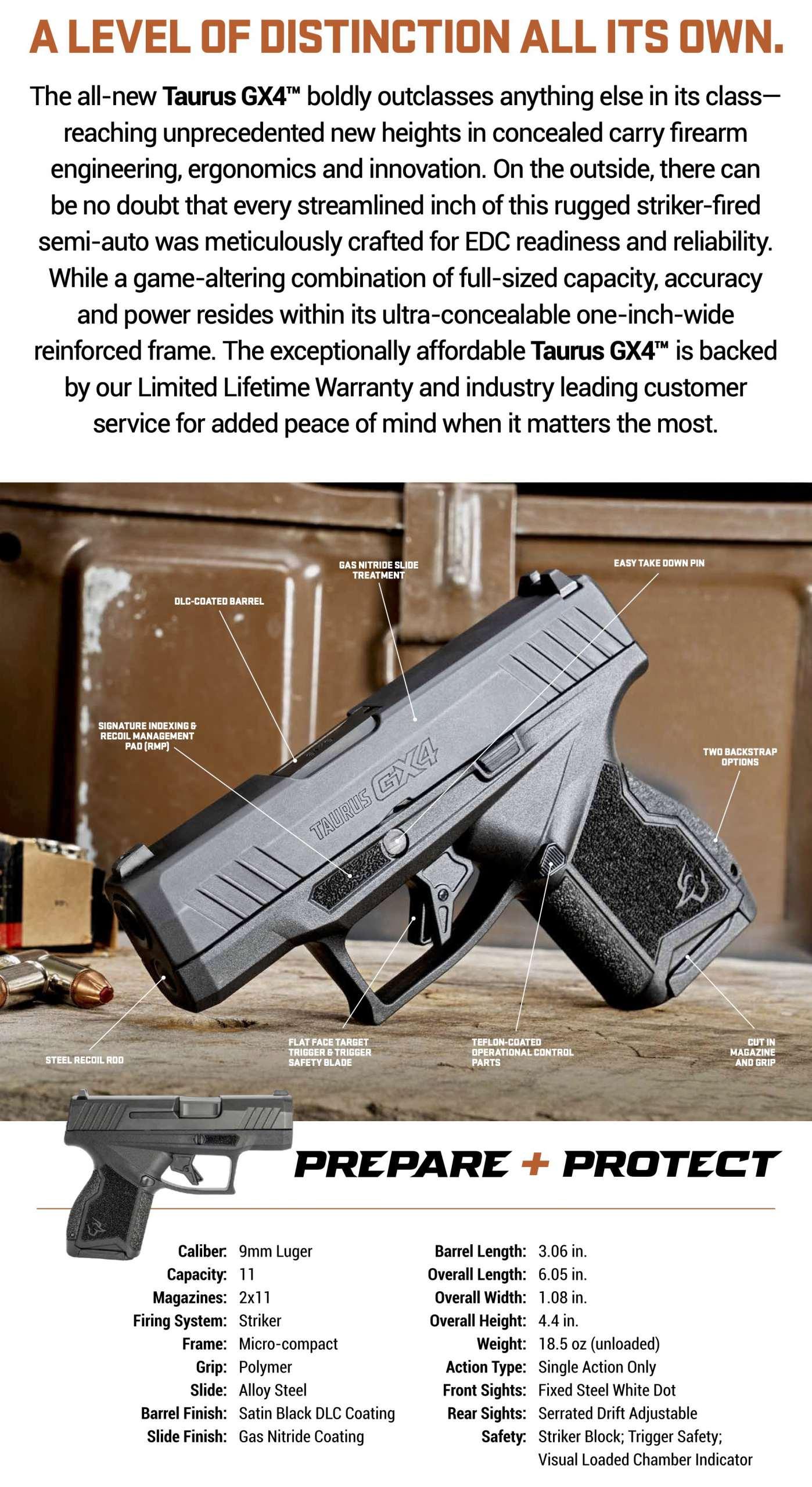 Taurus GX4 Giveaway Firearm Specs